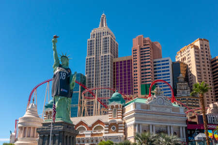 Las Vegas, USA - September 10, 2018: Las Vegas landmarks at sunny day time