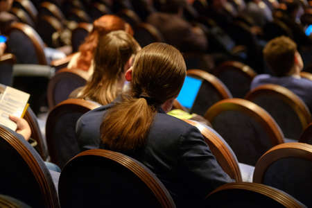People attend business conference in the congress hall Standard-Bild - 115252205