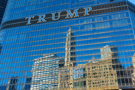 Chicago, USA - September 10, 2018: Trump tower bottom view at sunny day Editorial