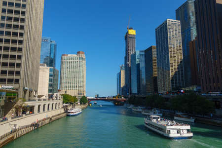 Chicago, USA - September 10, 2018: Downtown landmarks at sunny day time