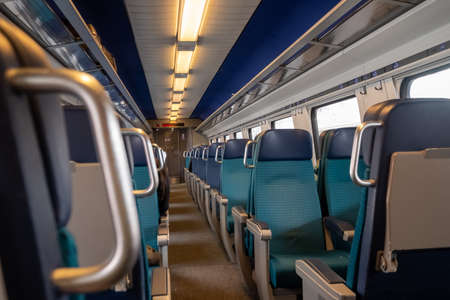 Perspective view of seats in a modern train, nobody