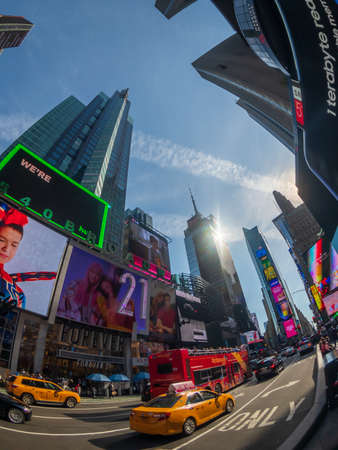 New York, USA - September 6, 2018: Famous attraction place Time Square day time cityscape Editorial