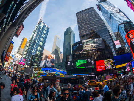 New York, USA - September 6, 2018: Famous attraction place Time Square day time cityscape