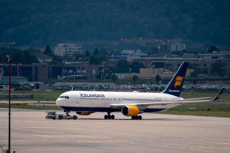 Zurich, Switzerland - July 19, 2018: Delta airlines airplane at runway day time in international airport, side view