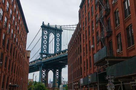 Krajobraz dnia Manhattan Bridge, Nowy Jork