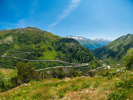 Summer landscape of Switzerland mountain nature, view to Furkapass 写真素材