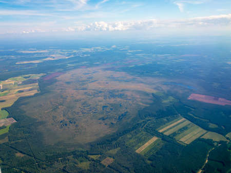 Top aerial view of a big swamp in Latvia 写真素材