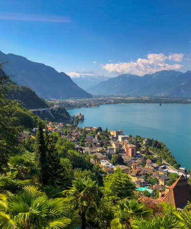 Aerial landscape of Montreux city in Switzerland, summer time, sunny morning
