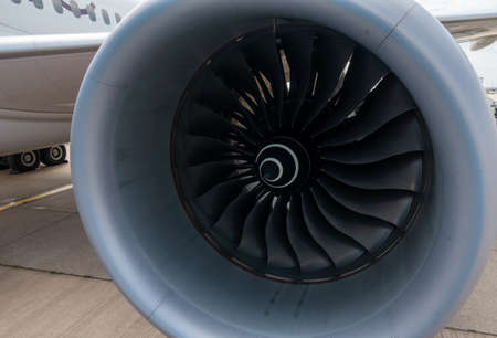 Airplane engine turbine close up macro