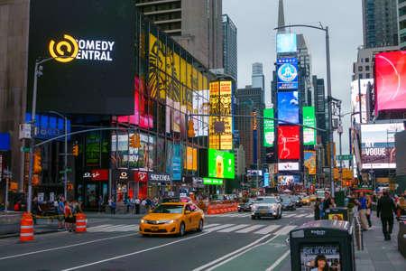 New York, USA - September 6, 2018: Time Square dusk time cityscape Redakční