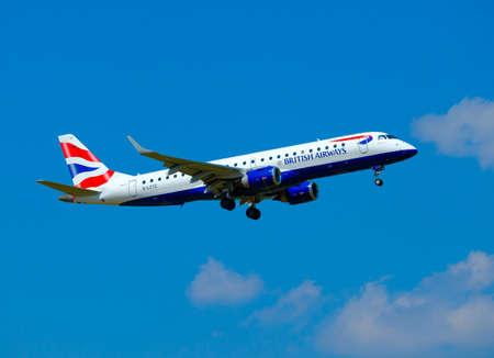 Zurich, Switzerland - July 19, 2018: British Airways airlines airplane preparing for landing at day time in international airport