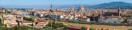 Sunny day time aerial panorama of old city of Florence, Italy
