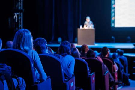 Audience listens male speaker at workshop in conference hall 版權商用圖片