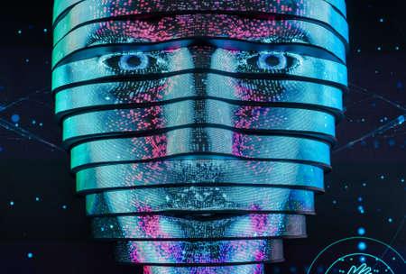 Vrtual digital woman face artificial intelligence concept Stock Photo