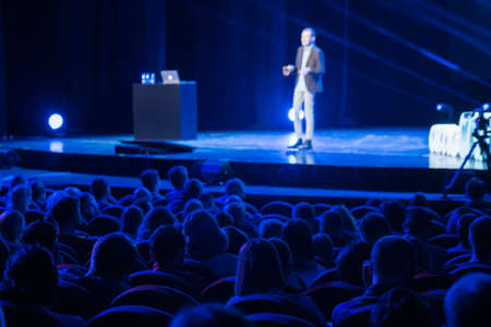 Audience listens male speaker at workshop in conference hall Standard-Bild