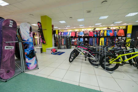 Pyatigors, Russia - April 19, 2019: Interior of the store selling goods for sports and leisure 報道画像