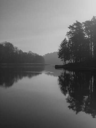 Peaceful scenery of lake on sunny day Stockfoto