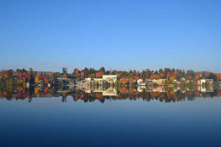 placid: Mirror Lake at Lake Placid with cloudless sky Stock Photo