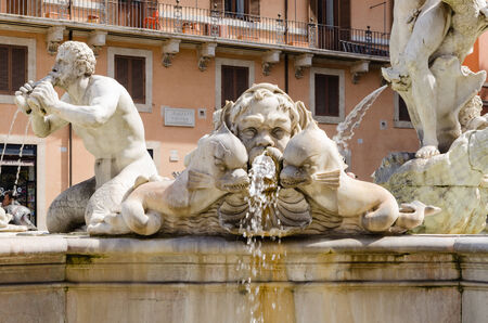 bernini: triton, moro fountain, Navona square, Bernini, Rome, Italy Stock Photo