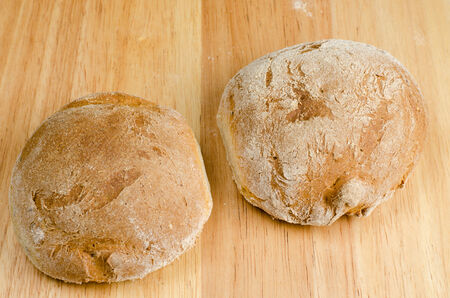 life loaf: handmade bread, homemade, close-up on wood Stock Photo