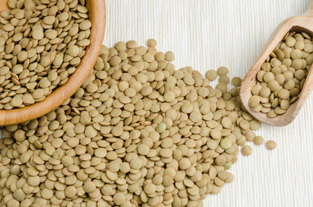 inexpensive: lentils, on table cloth, background, close up