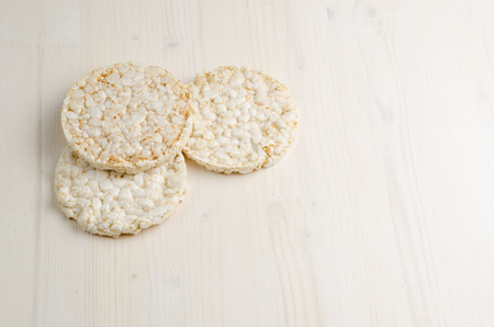 puffed: rice cake, puffed rice on table
