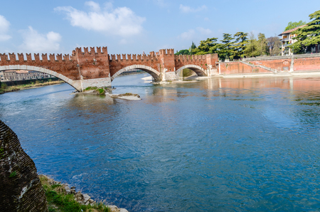 veneto: Castelvecchio, bridge and fortress, Adige river, Veneto, Italy Stock Photo