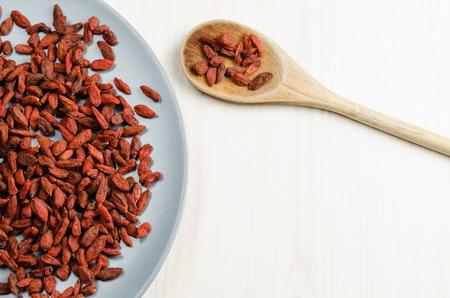 goji berry: Goji berry dried, with spoon. Stock Photo