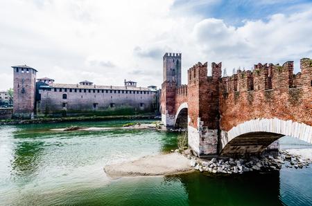veneto: Castelvecchio, bridge and fortress, Adige river, Verona,  Veneto, Italy Editorial