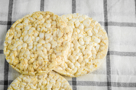 rice   cake: rice cake, puffed rice on table cloth