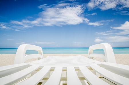deckchair: deckchair on a beach, seashore