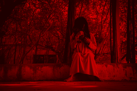 Scary Ghost Woman In Haunted House Horror Background Stock Photo