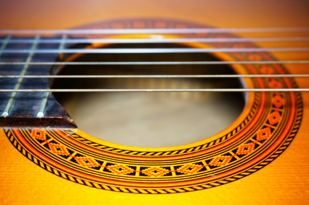 nylon string: Nylon classic guitar soundhole with beautiful rosette Stock Photo