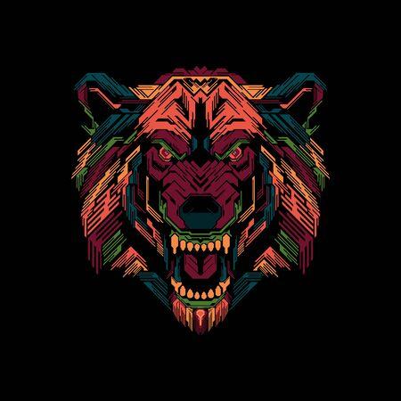 Illustration colorful tiger head pop art design, creative illustration, creative design.