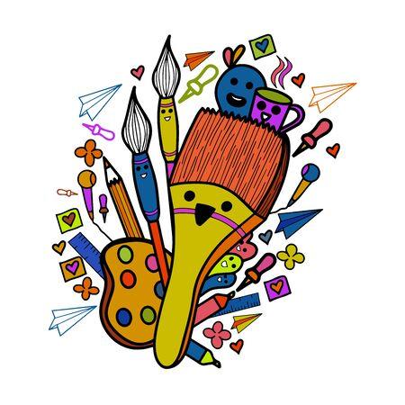 Illustration brush doodle design, creative illustration, creative design.