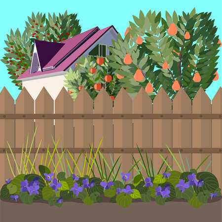 In the beginning a lawn with colours behind a fence a garden with the house Vector