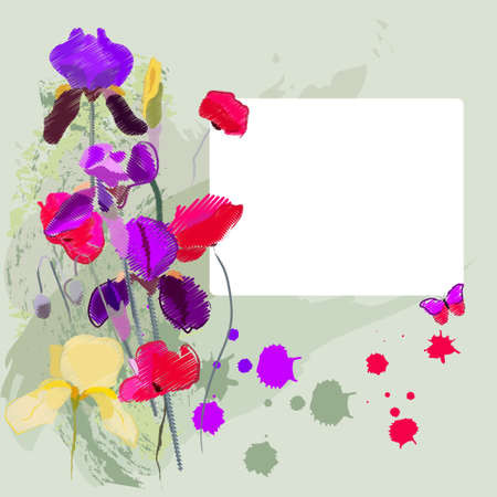 Irises and poppies on a shabby background Vector