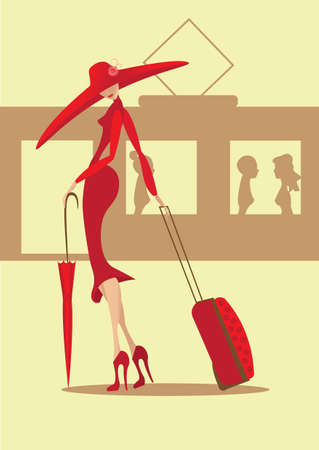 suitcases: The lady in a red dress with a suitcase and an umbrella goes to a train