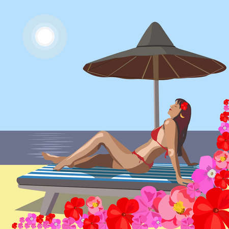 On seacoast the beautiful girl has a rest Vector