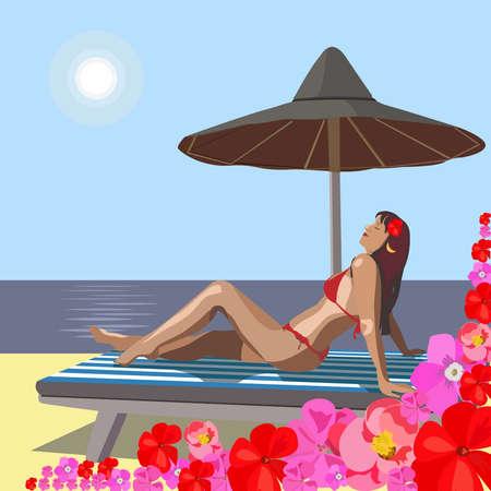 seacoast: On seacoast the beautiful girl has a rest
