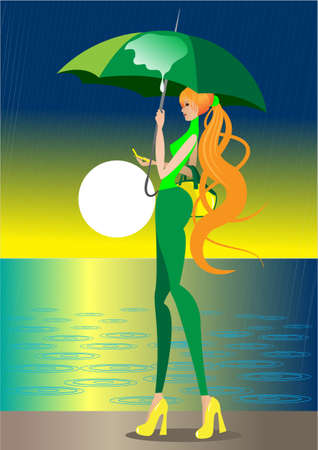The girl goes under an umbrella, it is raining Vector