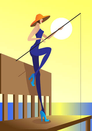 The girl on landing stage fishes a fishing tackle Vector