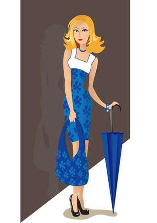The girl with a bag and an umbrella Vector