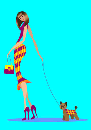 The girl goes with a bag and with the doggie Vector