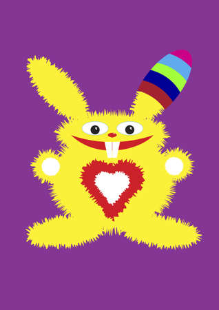 teeths: The yellow fluffy hare in a color cap smiles