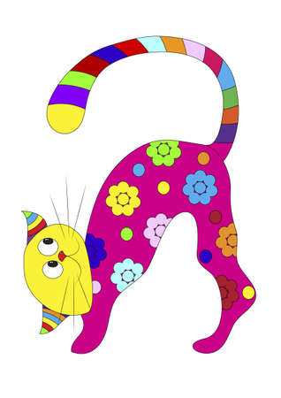 yellow tail: The cat looks at the colored tail Illustration