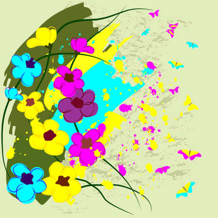 Bright flowers with color blots and butterflies Vector