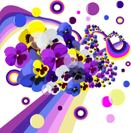 chearful: Flowers and rainbow as a whirlwind with bubbles and colours