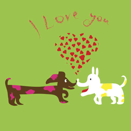 sniff: Dogs sniff each other and express love Illustration