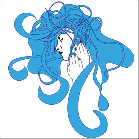 The girl the mermaid with a long unruly hair sits on a wind Vector